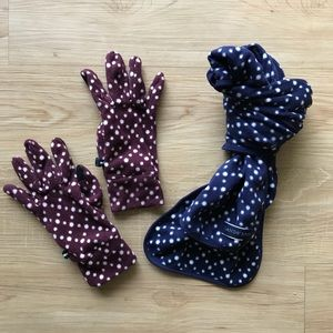 Fleece Winter Wear Set 🧣 Lands End Scarf & Gloves